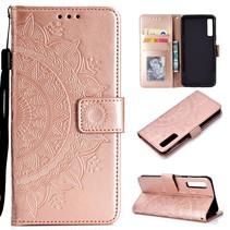 Mandala Booktype Hoesje Samsung Galaxy A7 2018 - Roze / Goud