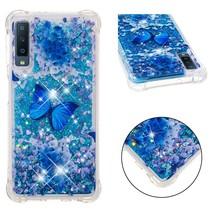 Blauwe Vlinder TPU Hoesje Samsung Galaxy A7 2018