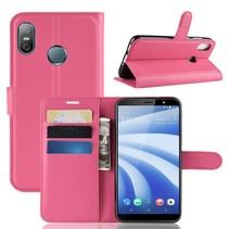 Litchee Booktype Hoesje HTC U12 Life - Roze