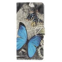Blauwe Vlinder Booktype Hoesje Samsung Galaxy A9 (2018)