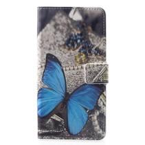 Blauwe Vlinder Booktype Hoesje Huawei Mate 20