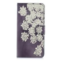 Witte Bloemen Booktype Hoesje Huawei Mate 20