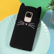 Kat siliconen Hoesje Huawei Mate 20 - Zwart