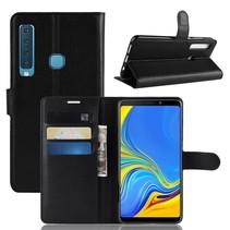 Litchee Booktype Hoesje Samsung Galaxy A9 (2018) - Zwart
