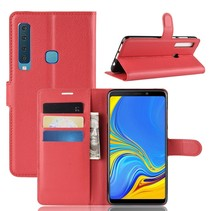 Litchee Booktype Hoesje Samsung Galaxy A9 (2018) - Rood