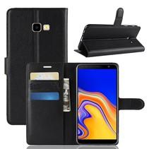Litchee Booktype Hoesje Samsung Galaxy J4 Plus - Zwart