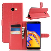 Litchee Booktype Hoesje Samsung Galaxy J4 Plus - Rood