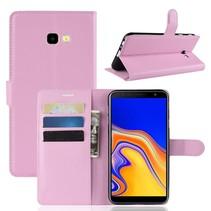 Litchee Booktype Hoesje Samsung Galaxy J4 Plus - Roze