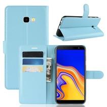 Litchee Booktype Hoesje Samsung Galaxy J4 Plus - Blauw