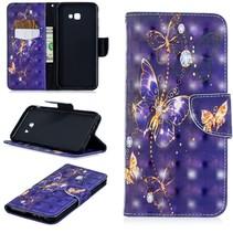 Paarse Vlinder Booktype Hoesje Samsung Galaxy J4 Plus