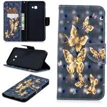 Gouden Vlinder Booktype Hoesje Samsung Galaxy J4 Plus