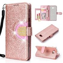 Booktype Hoesje Samsung Galaxy J4 Plus - Roze / Goud