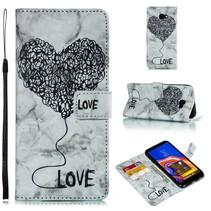 Marmer Booktype Hoesje Samsung Galaxy J4 Plus - Zwart