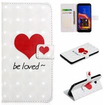 Rood Hart Booktype Hoesje Samsung Galaxy J4 Plus