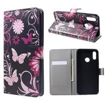 Vlinder en Bloem Booktype Hoesje Huawei P Smart Plus