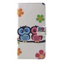 Verliefde uilen en bloemen Booktype Hoesje Huawei P Smart Plus