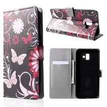 Vlinder en Bloem Booktype Hoesje Samsung Galaxy J6 Plus