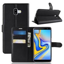 Litchee Booktype Hoesje Samsung Galaxy J6 Plus - Zwart