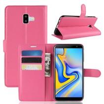 Litchee Booktype Hoesje Samsung Galaxy J6 Plus - Roze