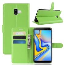 Litchee Booktype Hoesje Samsung Galaxy J6 Plus - Groen