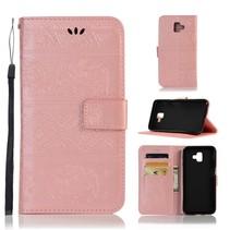 Booktype Hoesje Samsung Galaxy J6 Plus - Roze / Goud