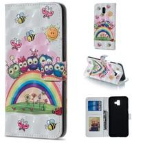 Regenboog en Uilen Booktype Hoesje Samsung Galaxy J6 Plus