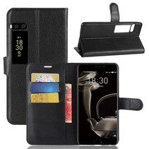 Litchee Booktype Hoesje Meizu Pro 7 Plus - Zwart