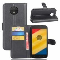 Litchee Booktype Hoesje Motorola Moto C Plus - Zwart