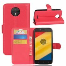 Litchee Booktype Hoesje Motorola Moto C Plus - Rood