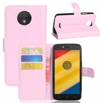 Litchee Booktype Hoesje Motorola Moto C Plus - Roze