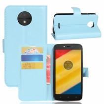 Litchee Booktype Hoesje Motorola Moto C Plus - Blauw