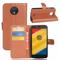 Litchee Booktype Hoesje Motorola Moto C Plus - Bruin