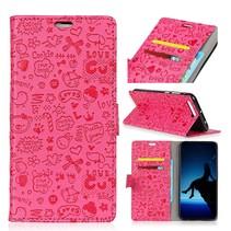 Figuurtjes Booktype Hoesje Nokia 3.1 - Roze