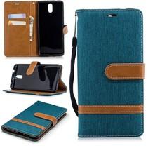 Jeans Booktype Hoesje Nokia 3.1 - Groen