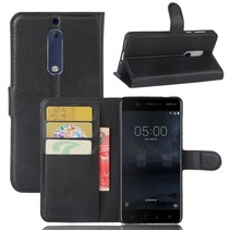 Litchee Booktype Hoesje Nokia 5 - Zwart