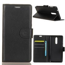 Litchee Booktype Hoesje Nokia 5.1 - Zwart