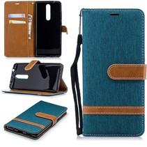 Jeans Booktype Hoesje Nokia 5.1 - Groen