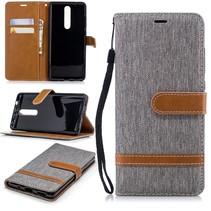 Jeans Booktype Hoesje Nokia 5.1 Plus - Grijs