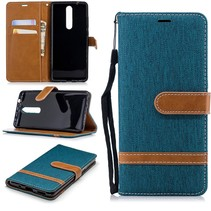Jeans Booktype Hoesje Nokia 5.1 Plus - Groen