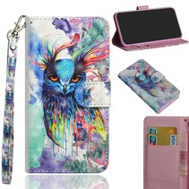 Kleurrijke Uil Booktype Hoesje Nokia 5.1 Plus