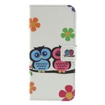 Verliefde uilen en bloemen Booktype Hoesje Nokia 5.1 Plus
