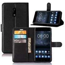 Litchee Booktype Hoesje Nokia 6 - Zwart