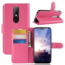 Litchee Booktype Hoesje Nokia 6.1 Plus - Roze