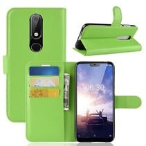 Litchee Booktype Hoesje Nokia 6.1 Plus - Groen