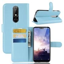 Litchee Booktype Hoesje Nokia 6.1 Plus - Blauw