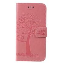 Boom en Uil Booktype Hoesje Nokia 7.1 - Roze