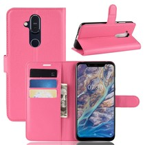 Litchee Booktype Hoesje Nokia 8.1 - Roze