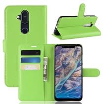 Litchee Booktype Hoesje Nokia 8.1 - Groen