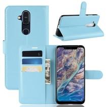 Litchee Booktype Hoesje Nokia 8.1 - Blauw