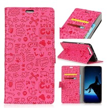 Figuurtjes Booktype Hoesje Nokia 8.1 - Roze